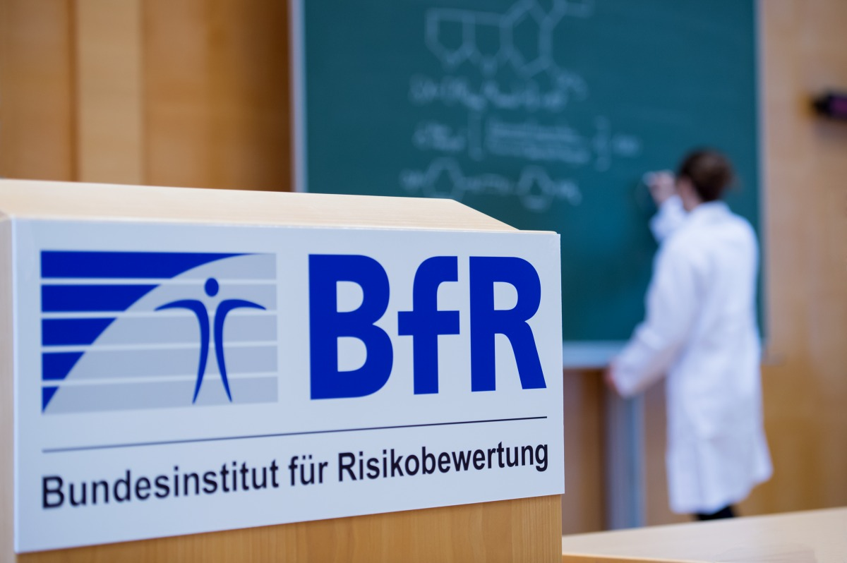 Woman on blackboard and BfR logo
